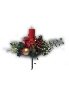 Centro Navidad con velon rojo