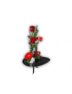 Centro flores con ceramica San Valentin