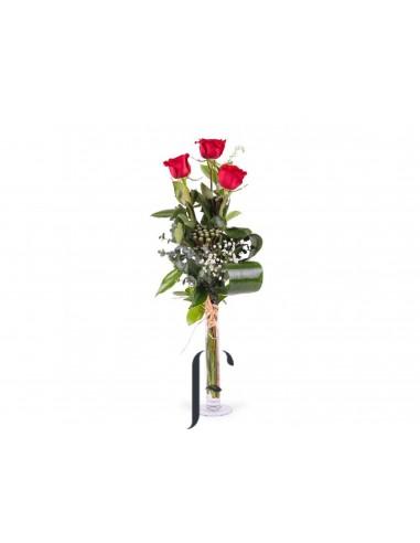 Ramo 3 Rosas con jarron San Valentin