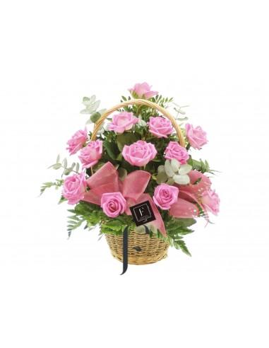 Cestita de Rosas Color Rosa